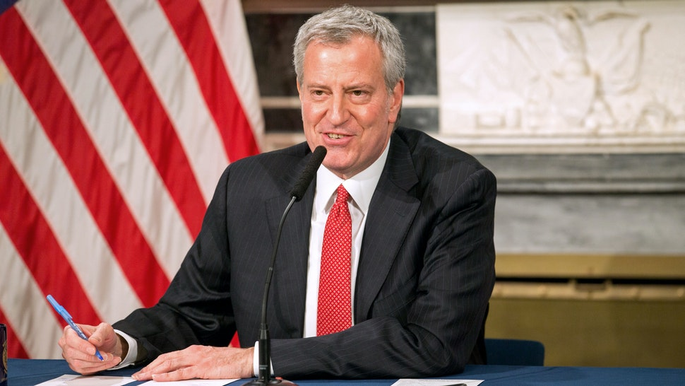 NEW YORK, NY - MARCH 19: Mayor Bill De Blasio speaks during a video press conference on the city's response to the coronavirus (COVID-19) outbreak held at City Hall on March 19, 2020 in New York City. Reporters participated via WebEx and the event was streamed live by local media.