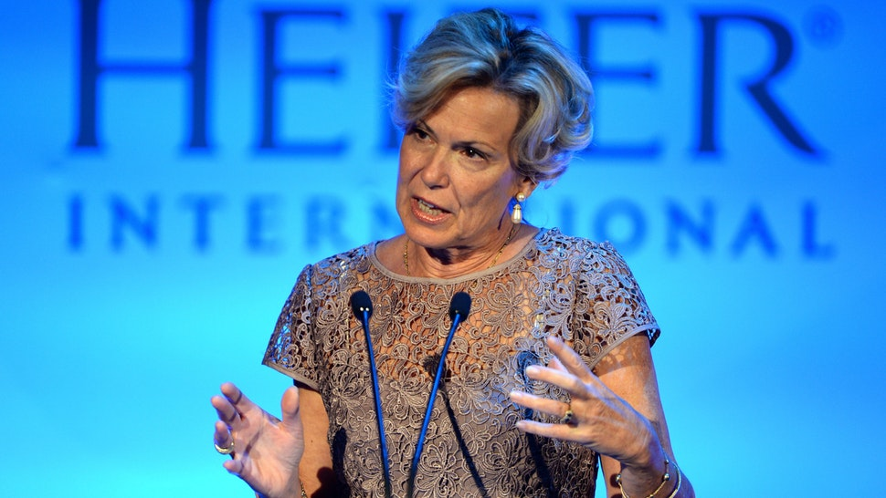 BEVERLY HILLS, CA - SEPTEMBER 18: Ambassador Deborah Birx speaks onstage at Heifer International's 4th Annual Beyond Hunger Gala at the Montage on September 18, 2015 in Beverly Hills, California. Heifer International works to end hunger and poverty while caring for the Earth.
