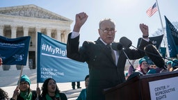 Senate Minority Leader Sen. Chuck Schumer (D-NY) speaks in an abortion rights rally outside of the Supreme Court as the justices hear oral arguments in the June Medical Services v. Russo case on March 4, 2020 in Washington, DC. The Louisiana abortion case is the first major abortion case to make it to the Supreme Court since Donald Trump became President. (Photo by Sarah Silbiger/Getty Images)