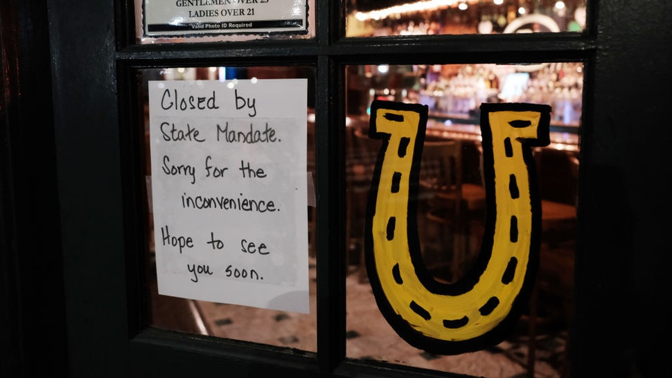 A restaurant sits closed in the early evening in Brooklyn after a decree that all bars and restaurants shutdown by 8 pm in New York City as much of the nation slows and takes extra precautions due to the continued spreading of the coronavirus on March 16, 2020 in New York City, United States. Across the country schools, businesses and places of work have either been shut down or are restricting hours of operation as Americans try to slow the spread of COVID-19. (Photo by Spencer Platt/Getty Images)