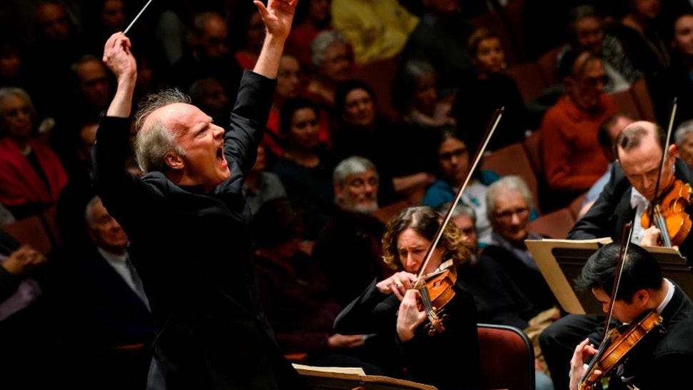 Italian conductor Gianandrea Noseda conducts the National Symphony Orchestra (NSO) during a concert at the John F. Kennedy Center for the Performing Arts in Washington DC, on February 14, 2019.