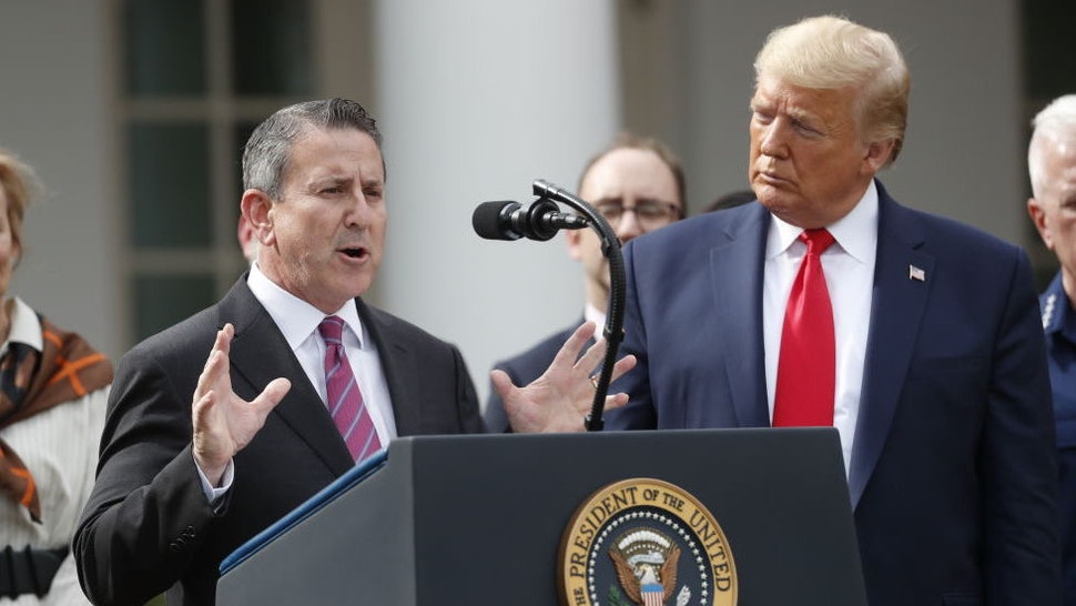 Brian Cornell, chief executive officer and chairman of Target Corp., left, speaks during a news conference with U.S. President Donald Trump in the Rose Garden of the White House in Washington, D.C., U.S., on Friday, March 13, 2020. Trump declared a national emergency over the coronavirus outbreak to allow for more federal aid for states and municipalities. Photographer: Andrew Harrer/Bloomberg