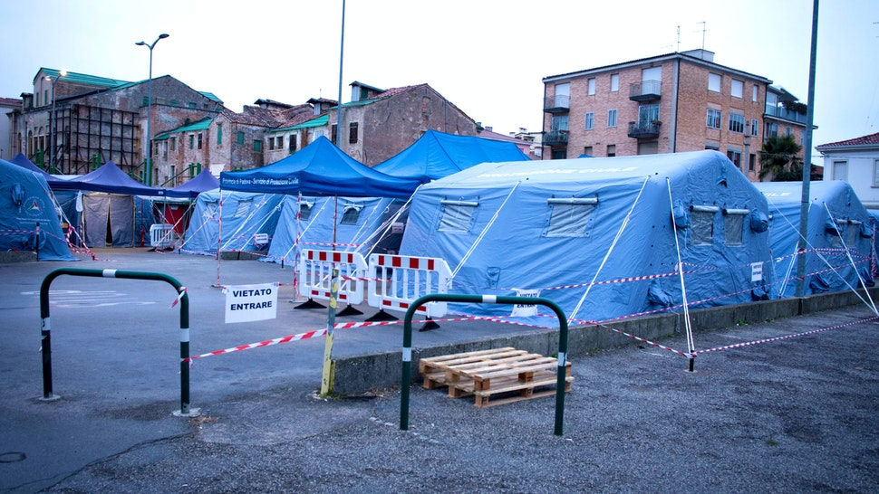 A view of tents near the Padua Hospital that will be used for patients hits by Coronavirus (Covid-19), in Padova, Italy, on March 7, 2020. The tents will be used for control swabs and checks on people who present themselves, with the aim of relieving, at least in part, the pressure on internal hospital structures, avoiding clogging up the emergency rooms and Infectious diseases for activities not directly related to their specificities.