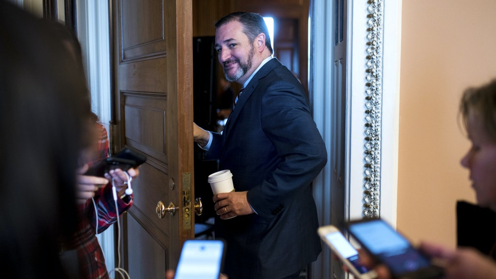 UNITED STATES - JANUARY 31: Sen. Ted Cruz, R-Texas, enters the Mansfield room for the Senate Republicans lunch in the Capitol before the start of the Senate impeachment trial proceedings on Friday, Jan. 31, 2020.