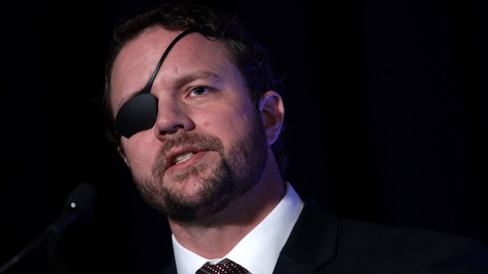 """U.S. Rep. Dan Crenshaw (R-TX) speaks on """"The Fate of Our Culture and Our Nation Hangs in the Balance"""" during the CPAC Direct Action Training at the annual Conservative Political Action Conference at Gaylord National Resort & Convention Center February 26, 2020 in National Harbor, Maryland. U.S. President Donald Trump is expected to address the annual event on February 29th. (Photo by Alex Wong/Getty Images)"""
