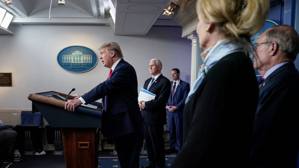 U.S. President Donald Trump speaks during a briefing on the coronavirus pandemic, in the press briefing room of the White House on March 24, 2020 in Washington, DC. Cases of COVID-19 continue to rise in the United States, with New York's case count doubling every three days according to governor Andrew Cuomo. (Photo by Drew Angerer/Getty Images)