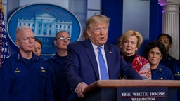 U.S. President Donald Trump speaks to the media in the press briefing room at the White House on March 15, 2020 in Washington, DC. The United States has surpassed 3,000 confirmed cases of the coronavirus, and the death toll climbed to at least 61, with 25 of the deaths associated with the Life Care Center in Kirkland, Washington. (Photo by Tasos Katopodis/Getty Images)