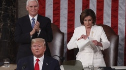 Speaker of the House Nancy Pelosi, a Democrat from California, right, rips up papers after U.S. President Donald Trump, bottom left, delivers a State of the Union address to a joint session of Congress at the U.S. Capitol in Washington, D.C., U.S., on Tuesday, Feb. 4, 2020. PresidentDonald Trumpwill try to move past his impeachment and make a case for his re-election in Tuesday'sStateoftheUnionaddress by taking credit for a strong economy, newly signed trade deals and an immigration crackdown. Photographer: Andrew Harrer/Bloomberg