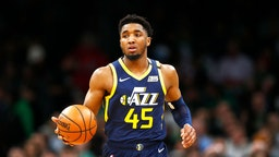 Donovan Mitchell #45 of the Utah Jazz brings the ball up court during the third quarter of the game against the Boston Celtics at TD Garden on March 06, 2020 in Boston, Massachusetts. NOTE TO USER: User expressly acknowledges and agrees that, by downloading and or using this photograph, User is consenting to the terms and conditions of the Getty Images License Agreement. (Photo by Omar Rawlings/Getty Images)