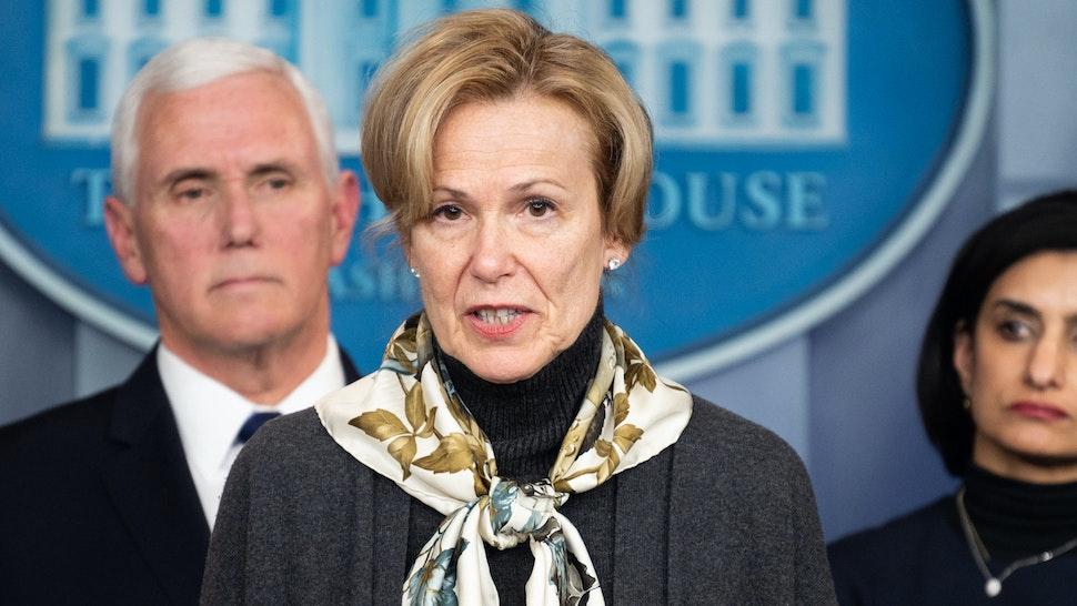 WASHINGTON, DC, UNITED STATES - MARCH 4, 2020: Dr. Deborah Birx, Ambassador-at-Large and United States Global AIDS Coordinator, speaking at the Coronavirus Task Force press conference.