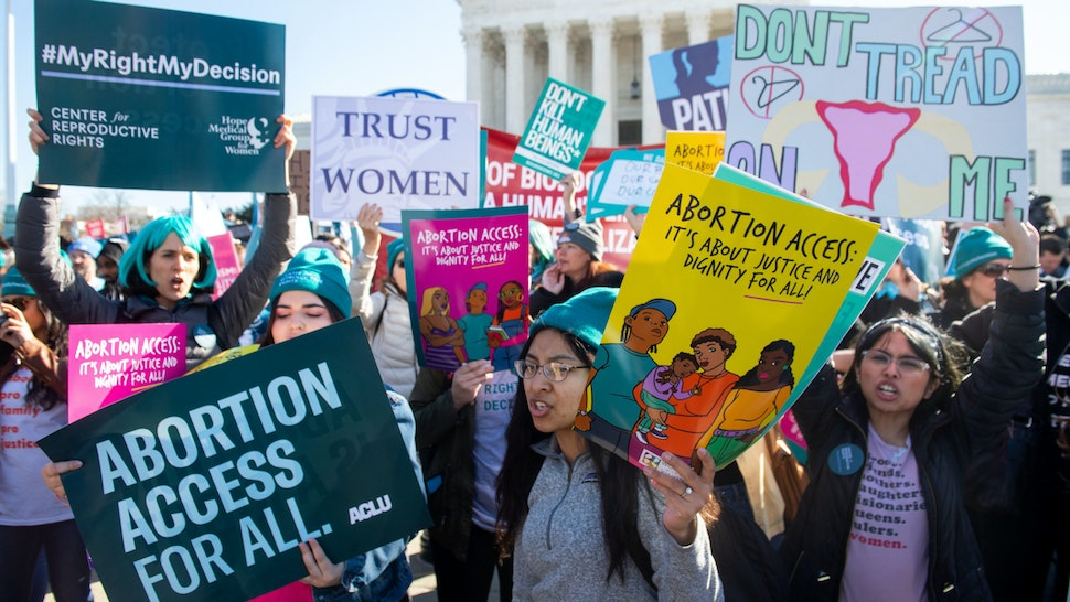 Pro-choice activists supporting legal access to abortion protest during a demonstration outside the US Supreme Court in Washington, DC, March 4, 2020, as the Court hears oral arguments regarding a Louisiana law about abortion access in the first major abortion case in years.