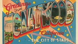 Vintage illustration of Greetings from Hollywood, California large letter vintage postcard, 1930s.