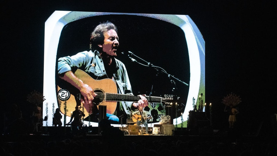Singer-songwriter and guitarist Eddie Vedder performs live on stage at Max-Schmeling-Halle on June 28, 2019 in Berlin, Germany. (Photo by Jim Bennett/Getty Images)