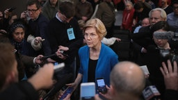 COUNCIL BLUFFS, IOWA - JANUARY 04: Sen. Elizabeth Warren (D-MA) speaks to reporters during a campaign stop at McCoy's Bar Patio and Grill on January 4, 2019 in Council Bluffs, Iowa. Warren announced on December 31 that she was forming an exploratory committee for the 2020 presidential race.