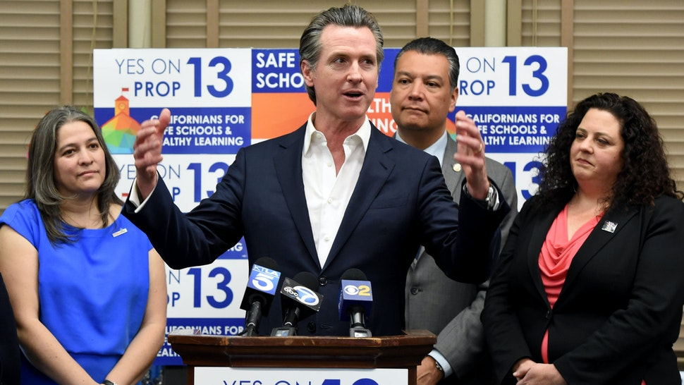 LONG BEACH, CA - FEBRUARY 28: California Governor Gavin Newsom, toured Mark Twain Elementary School before holding a press conference to promote support for Proposition 13, the historic school facilities bond, in Long Beach on Friday, February 28, 2020.
