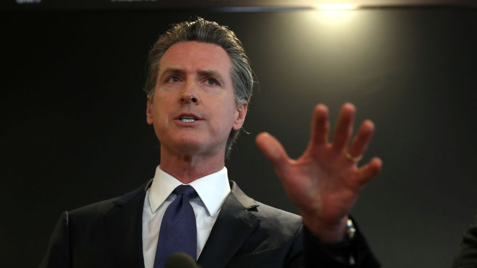 California Gov. Gavin Newsom speaks during a news conference at the California Department of Public Health on February 27, 2020 in Sacramento, California. California Gov. Gavin Newsom joined State health officials to an update to the public about the state's response to the Coronavirus known as COVID-19 a day after a possible first case of person-to-person transmission was reported in Northern California. (Photo by Justin Sullivan/Getty Images)