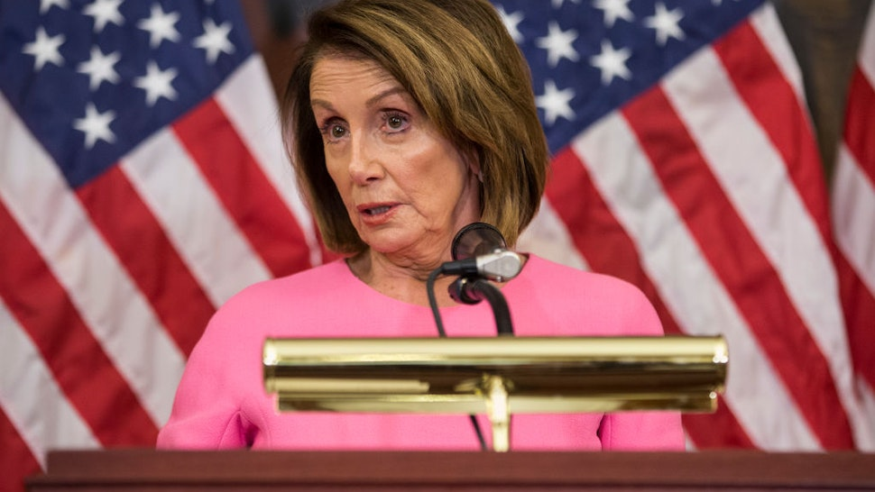House Minority Leader Nancy Pelosi (D-CA) holds a news conference following the 2018 midterm elections at the Capitol Building on November 7, 2018 in Washington, DC.