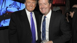 """Television Personality Donald Trump and journalist Piers Morgan attend the celebration of Perfumania and Kim Kardashian�s appearance on NBC�s """"The Apprentice"""" at the Provocateur at The Hotel Gansevoort on November 10, 2010 in New York, New York."""