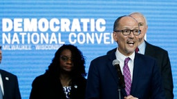 """Chair of the Democratic National Committee Tom Perez speaks during a press conference at the Fiserv Forum in Milwaukee, Wisconsin on March 11, 2019, to announce the selection of Milwaukee as the 2020 Democratic National Convention host city. - Democrats have chosen Milwaukee as the site of their 2020 election convention, in an effort to win back swing voters in the American """"Rust Belt"""" who helped elect Donald Trump. In announcing the decision, the Democratic Party emphasized it is the first time a Midwestern city other than Chicago has been chosen to host a party convention in more than 100 years. (Photo by Kamil Krzaczynski / AFP) (Photo credit should read KAMIL KRZACZYNSKI/AFP via Getty Images)"""