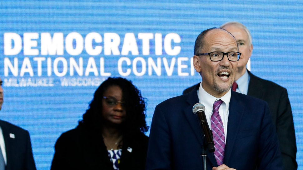 "Chair of the Democratic National Committee Tom Perez speaks during a press conference at the Fiserv Forum in Milwaukee, Wisconsin on March 11, 2019, to announce the selection of Milwaukee as the 2020 Democratic National Convention host city. - Democrats have chosen Milwaukee as the site of their 2020 election convention, in an effort to win back swing voters in the American ""Rust Belt"" who helped elect Donald Trump. In announcing the decision, the Democratic Party emphasized it is the first time a Midwestern city other than Chicago has been chosen to host a party convention in more than 100 years. (Photo by Kamil Krzaczynski / AFP) (Photo credit should read KAMIL KRZACZYNSKI/AFP via Getty Images)"