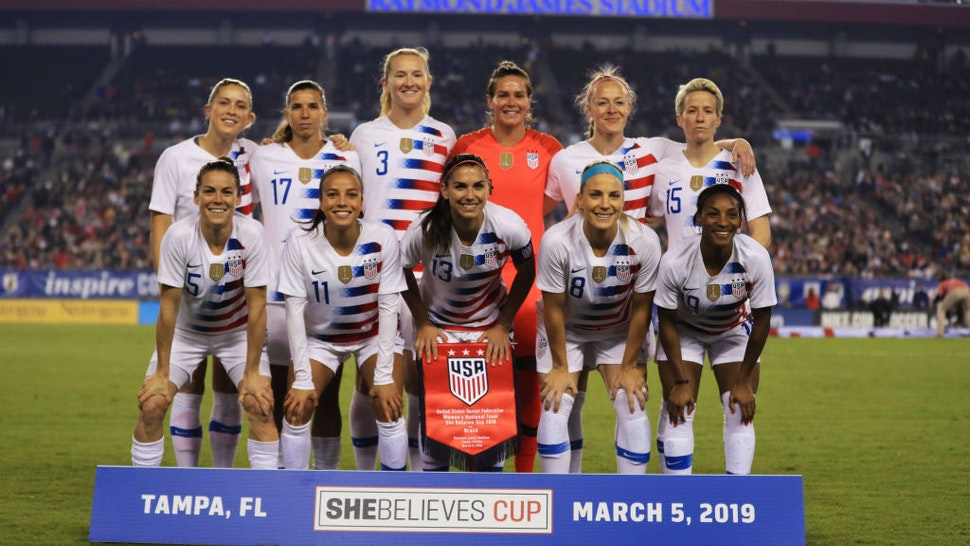 The USA Women's National team poses before a game against Brazil during the She Believes Cup at Raymond James Stadium on March 05, 2019 in Tampa, Florida.