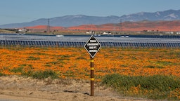 An array of solar panels near the Antelope Valley Poppy Preserve is viewed on March 31, 2019, near Lancaster, California.