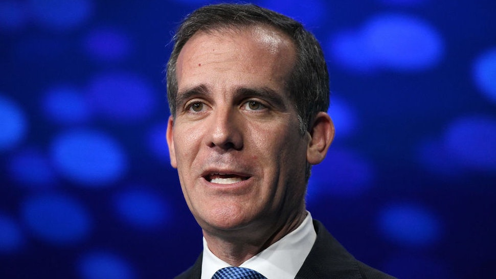 Eric Garcetti, Mayor of Los Angeles, presents onstage during the annual Milken Institute Global Conference at The Beverly Hilton Hotel on April 29, 2019 in Beverly Hills, California.