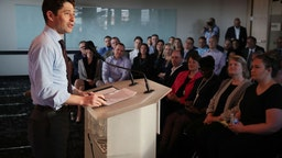 Jacob Frey, Mayor of Minneapolis spoke during a press conference at Amazon North Loop tech office Wednesday May 2, 2018.