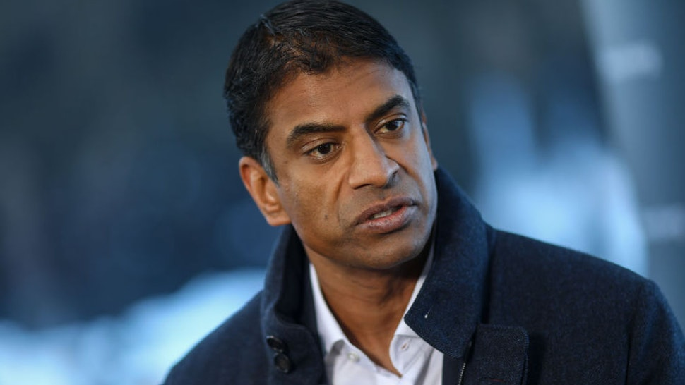 Vas Narasimhan, chief executive officer of Novartis AG, speaks during a Bloomberg Television interview on day three of the World Economic Forum (WEF) in Davos, Switzerland, on Thursday, Jan. 23, 2020.