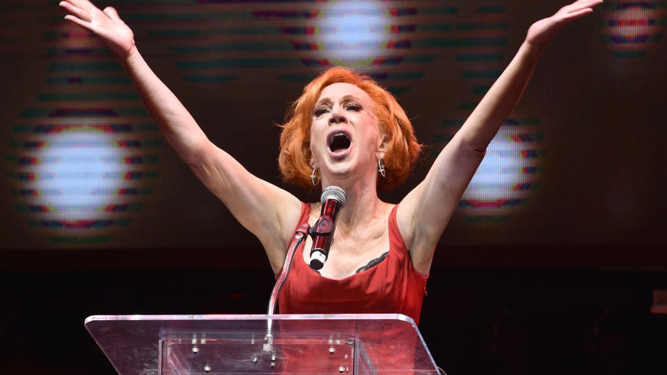 Kathy Griffin speaks onstage at Gay Porn's Biggest Night - Str8UpGayPorn Awards, Hosted By Kathy Griffin at Avalon Theater on January 12, 2020 in Los Angeles, California.