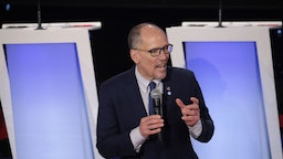 Democratic National Committee chairman Tom Perez speaks to the audience ahead of the Democratic presidential primary debate at Drake University on January 14, 2020 in Des Moines, Iowa.