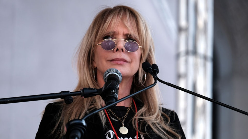 Actress Rosanna Arquette speaks at the 4th Annual Women's March LA: Women Rising at Pershing Square on January 18, 2020 in Los Angeles, California.