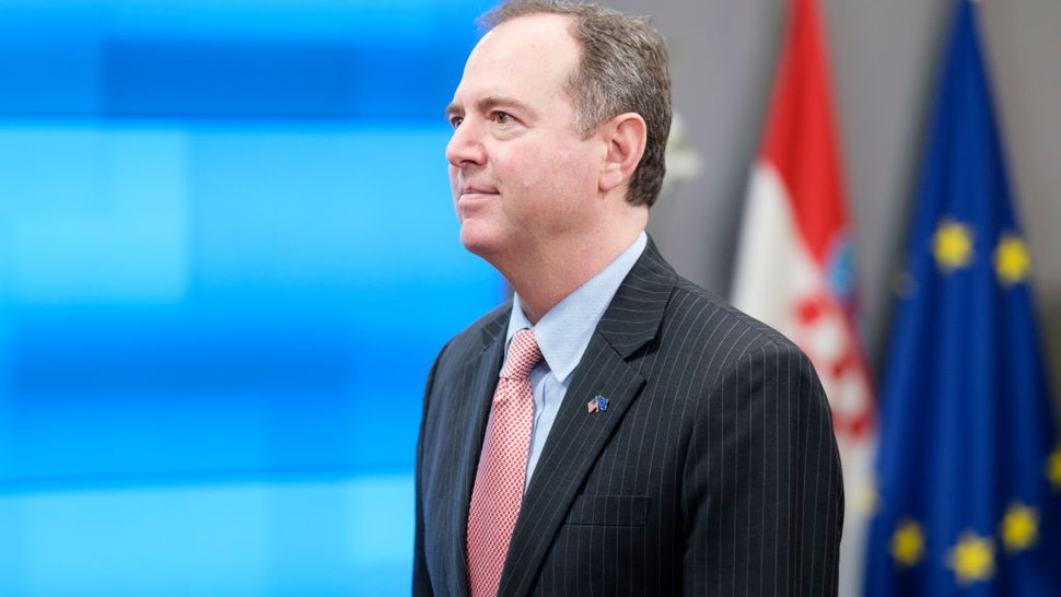 Chair of the House Intelligence Committee Adam Bennett Schiff is leaving after a meeting with the President of the European Council (Unseen) in the Europa Building, the EU Council headquarters on February 17, 2020 in Brussels, Belgium.