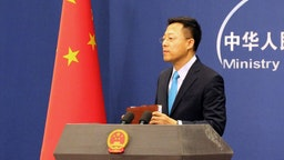 Chinese Foreign Ministry Spokesman Zhao Lijian during his first regular press briefing at the Chinese Foreign Ministry; on February 3-21, the Ministry's regular briefings were held online amid the COVID-19 coronavirus outbreak.