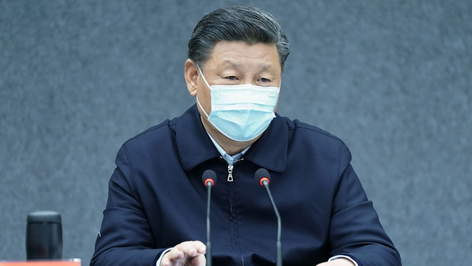 Chinese President Xi Jinping, also general secretary of the Communist Party of China Central Committee and chairman of the Central Military Commission, chairs a symposium at the School of Medicine at Tsinghua University in Beijing, capital of China, March 2, 2020.