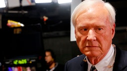 """Chris Matthews, host of MSNBC's political show """"Hardball"""" prepares for interviews in the spin room after the Democratic Presidential Debate at the Fox Theatre on July 31, 2019 in Detroit, Michigan."""
