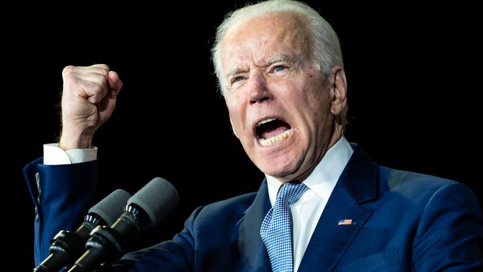 Former Vice President and Democratic presidential candidate Joe Biden speaks during a campaign rally in Los Angeles.-