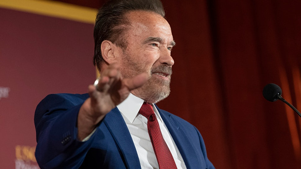 LOS ANGELES, CA - FEBRUARY 13: Former Gov. Arnold Schwarzenegger speaks during Unhoused: Addressing Homelessness in California at the University of Southern California in Los Angeles, CA on Thursday, February 13, 2020. The program was presented by the USC Schwarzenegger Institute for State and Global Policy and USC Price Center for Social Innovation.