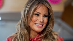 First Lady Melania Trump visits the Children's Inn at National Institutes of Health on Valentine's Day on on February 14, 2020 in Bethesda, Maryland.