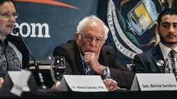 Senator Bernie Sanders, an Independent from Vermont and 2020 presidential candidate, listens during a coronavirus public health roundtable in Romulus, Michigan, U.S., on Monday, March 9, 2020. Sanders said any eventual vaccine for the deadly novel coronavirus should be made available free of charge once developed and approved for use. Photographer: Erin Kirkland/Bloomberg via Getty Images