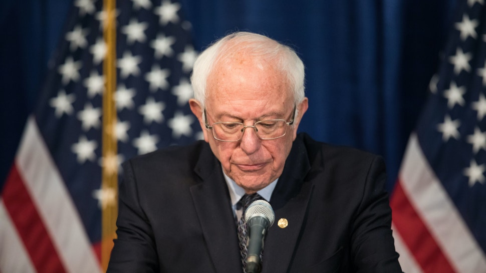 BURLINGTON, VT - MARCH 11: Democratic presidential candidate Sen. Bernie Sanders (I-VT) delivers a campaign update at the Hotel Vermont on March 11, 2020 in Burlington, Vermont. (Photo by Scott Eisen/Getty Images)