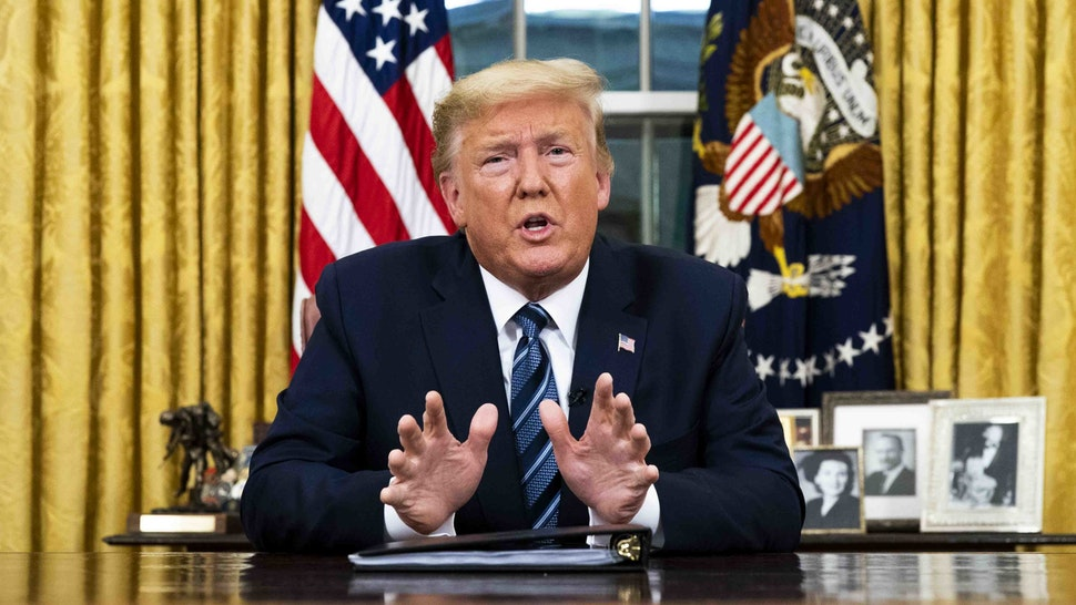 WASHINGTON, DC - MARCH 11: US President Donald Trump addresses the nation from the Oval Office about the widening Coronavirus crisis on March 11, 2020 in Washington, DC. President Trump said the US will suspend all travel from Europe - except the UK - for the next 30 days. Since December 2019, Coronavirus (COVID-19) has infected more than 109,000 people and killed more than 3,800 people in 105 countries. (Photo by Doug Mills-Pool/Getty Images)
