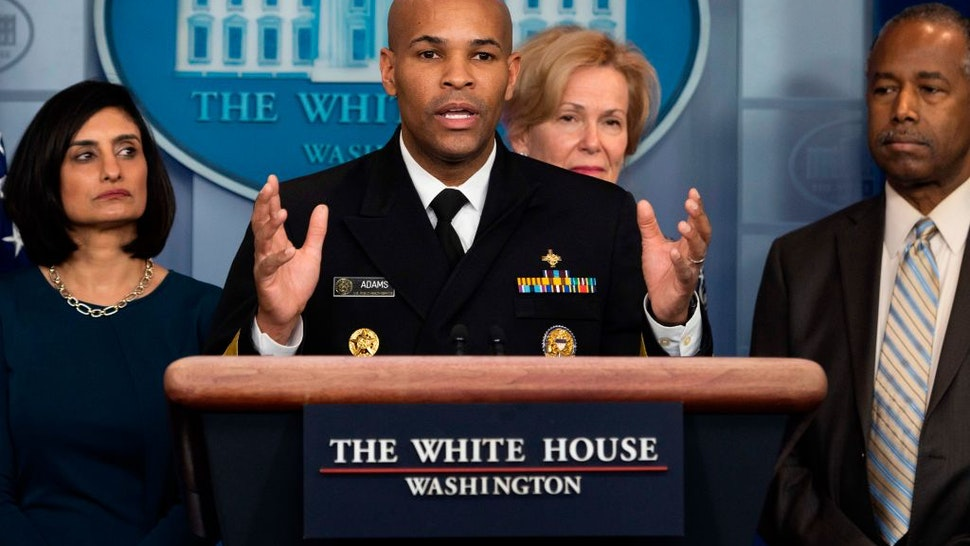 Jerome Adams speaks during a press briefing about the Coronavirus (COVID-19) in the Brady Press Briefing Room at the White House in Washington, DC, March 14, 2020.