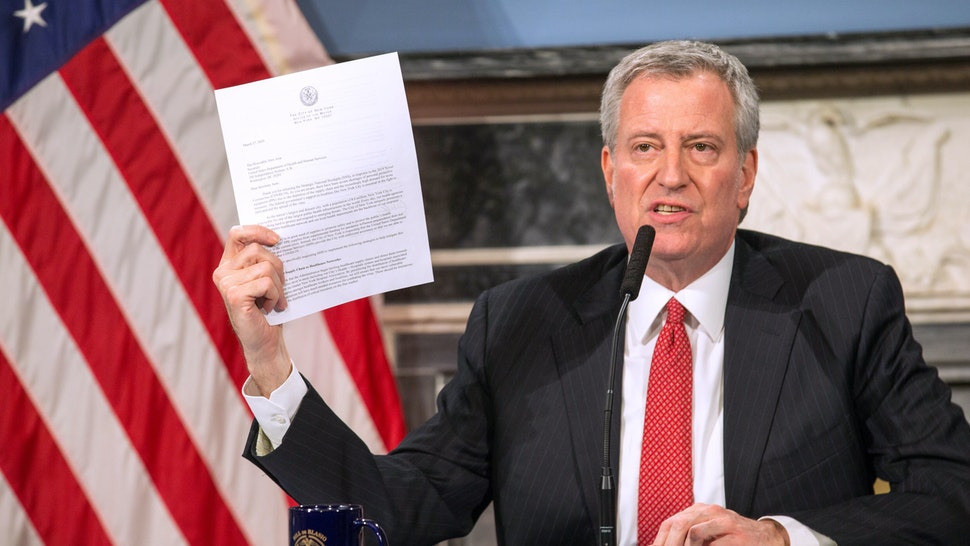 NEW YORK, NY - MARCH 19: Mayor Bill De Blasio speaks during a video press conference on the city's response to the coronavirus (COVID-19) outbreak held at City Hall on March 19, 2020 in New York City. Reporters participated via WebEx and the event was streamed live by local media. (Photo by William Farrington-Pool/Getty Images)