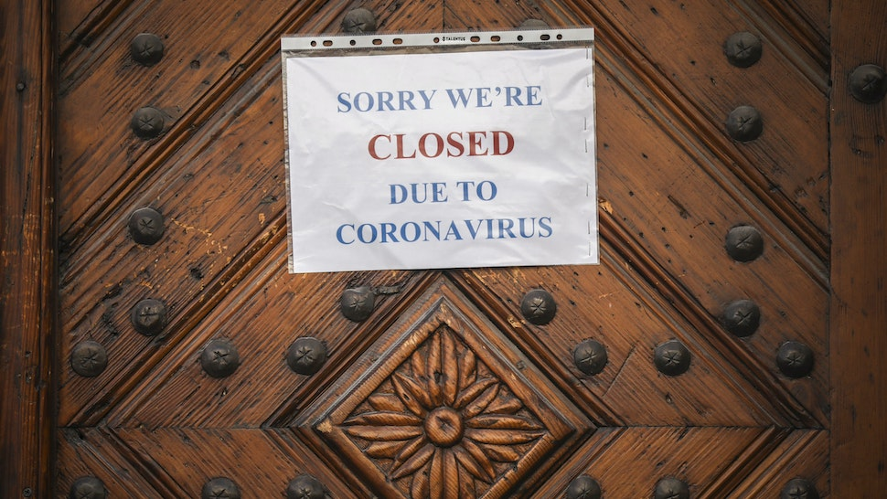 A restaurant is closed due to the spread of the coronavirus. Krakow, Poland on March 25, 2020. Polands government introduced new limitations across the country, such as rules preventing leaving home unless justified. (Photo by Beata Zawrzel/NurPhoto via Getty Images)