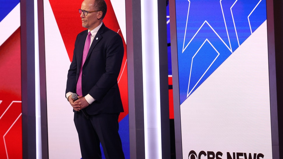 CHARLESTON, SOUTH CAROLINA - FEBRUARY 25: DNC chair Tom Perez stands on stage before the Democratic presidential primary debate at the Charleston Gaillard Center on February 25, 2020 in Charleston, South Carolina. Seven candidates qualified for the debate, hosted by CBS News and Congressional Black Caucus Institute, ahead of South Carolina's primary in four days. (Photo by Win McNamee/Getty Images)