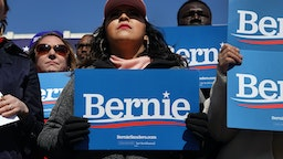 GRAND RAPIDS, MICHIGAN - MARCH 08: Supporters of Democratic presidential candidate Sen. Bernie Sanders (I-VT) attend a campaign rally in Calder Plaza on March 08, 2020 in Grand Rapids, Michigan. Michigan holds its primary election on Tuesday March 10. (Photo by Scott Olson/Getty Images)