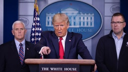 U.S. President Donald Trump speaks at the daily coronavirus briefing joined by Vice President Mike Pence and FEMA Administrator Peter Gaynor in the James Brady Press Briefing Room at the White House on March 22, 2020 in Washington, DC.