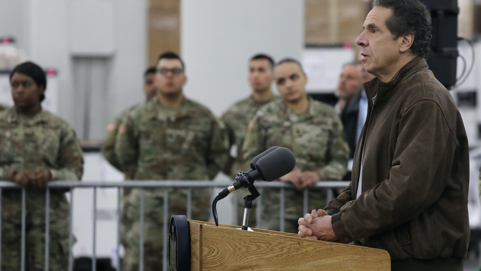 NEW YORK, NEW YORK - MARCH 23: New York Governor Andrew Cuomo speaks to the media and members of the National Guard at the Javits Convention Center which is being turned into a hospital to help fight coronavirus cases on March 23, 2020 in New York City. The plan is part of his New York state request for assistance to the federal government for four field hospital sites and aid from the U.S. Army Corps of Engineers. New York has been one of the hardest hit states in the nation with over 10,000 cases of COVID-19. (Photo by Spencer Platt/Getty Images)