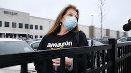 Amazon employees hold a protest and walkout over conditions at the company's Staten Island distribution facility on March 30, 2020 in New York City.